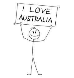 Person holding i love australia sign cartoon vector