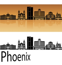 Phoenix skyline in orange vector
