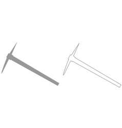 Pickaxe grey set icon vector