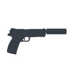 Pistol handgun with silencer gun on white vector