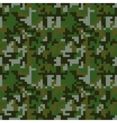 Pixel camo seamless pattern Green forest vector