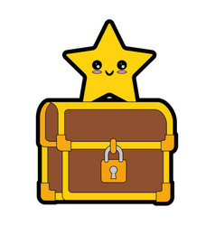 pixelated treasure chest with star vector image
