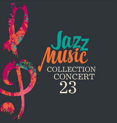 Poster for jazz music collection with treble clef vector