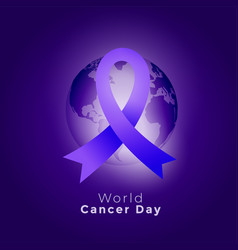 Purple ribbon and earth on world cancer day vector