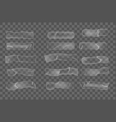 Realistic plastic adhesive wrinkled tape pieces on vector
