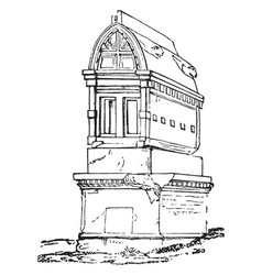Roman edifice a tall stone structure vintage vector