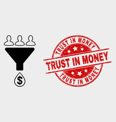 Sales funnel icon and scratched trust in vector