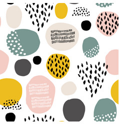 Seamless fdashion pattern with hand drawn stains vector