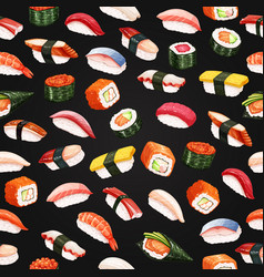 Seamless pattern sushi roll vector