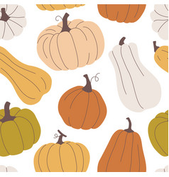 seamless pattern with pumpkins in pastel colors vector image