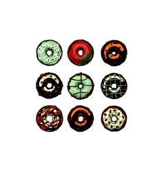set doughnuts vector image