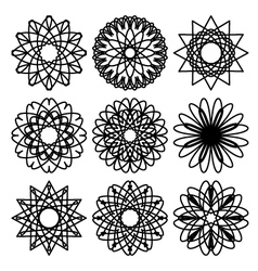 Set of circular ornaments vector