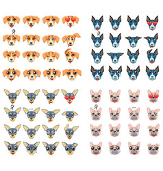 Set of different breeds of dogs emoji emoticon vector