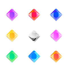 set of gems stones of different colors vector image