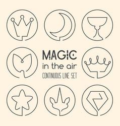 Set of magic fantasy continuous line art icons vector