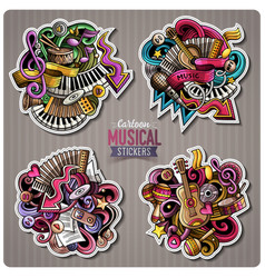 Set of music cartoon stickers vector