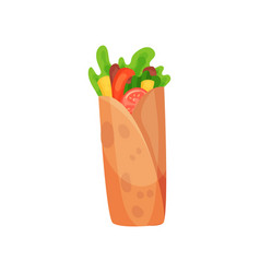 Shawarma with meat and fresh vegetables vector