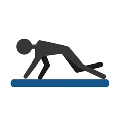 Silhouette guy exercising fitness sport pad vector