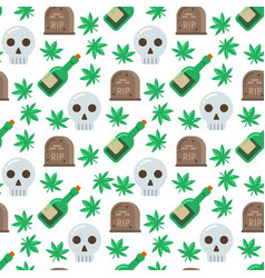 Skull and alcohol seamless pattern vector