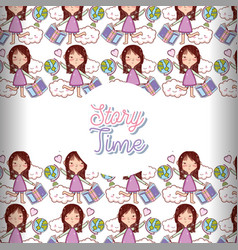Story time books background pattern vector