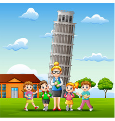 study outdoors in front of pisa tower background vector image