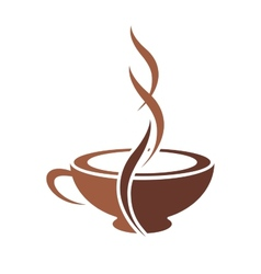 Stylish cup steaming cappuccino coffee vector
