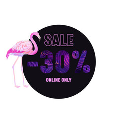 summer sale violet banner with pink flamingo and vector image