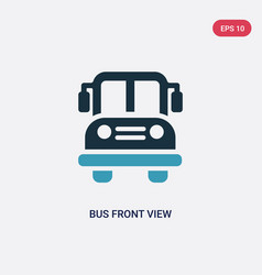 Two color bus front view icon from mechanicons vector
