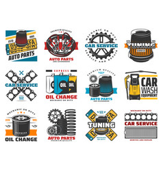 Vehicle repair and car spare part icons vector