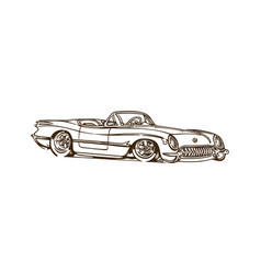 vintage muscle cars inspired cartoon sketch vector image