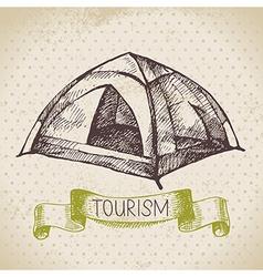 Vintage sketch tourism background vector image