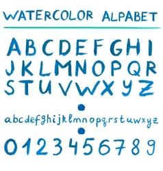 Watercolor blue alphabet vector image