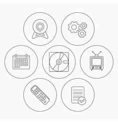 Web camera retro TV and hard disk icons vector image