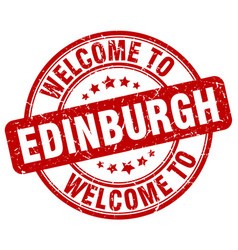 Welcome to edinburgh red round vintage stamp vector