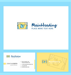 window logo design with tagline front and back vector image