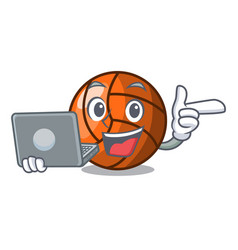 With laptop volleyball character cartoon style vector