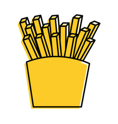 fries french fast food box icon vector image vector image