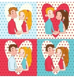 Set of Valentines Day Cards vector image