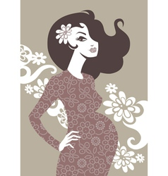 silhouette of pregnant woman vector image vector image
