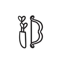 Bow and arrows sketch icon vector