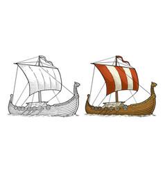 drakkar floating on the sea waves vintage color vector image vector image
