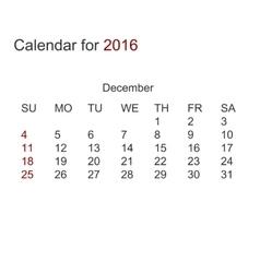 modern calendar for december 2016 vector image