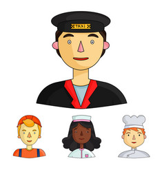 A nurse in a dressing gown a cook in a hood a vector