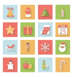 Christmas and New Year flat icons set with shadows vector image