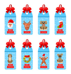 collection christmas labels with bows and elements vector image vector image