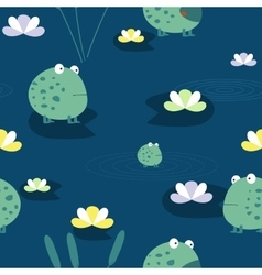 Cute frog seamless pattern vector image