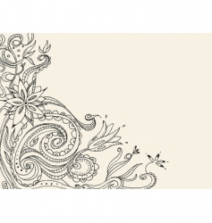 floral doodle card vector image
