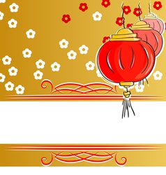 background with Chinese lanterns vector image
