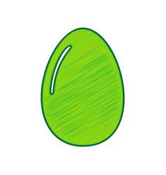 chicken egg sign lemon scribble icon on vector image