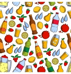 Fruits and cold drinks seamless pattern vector image vector image